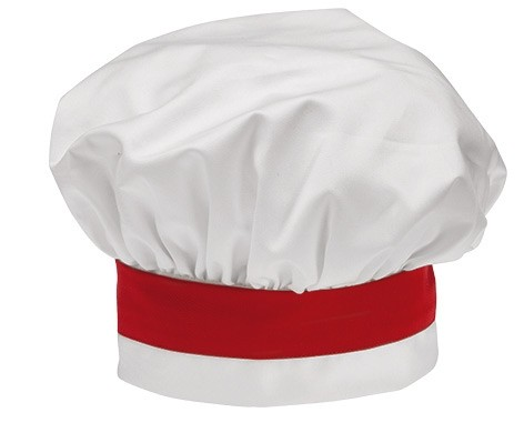 GIBLOR'S CHEF STYLE Bistro-Mütze WHITE/RED 2er-Pack