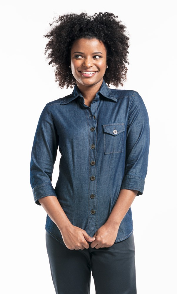 CHAUD DEVANT JEANS-BLUSE WOMAN BLUE DENIM