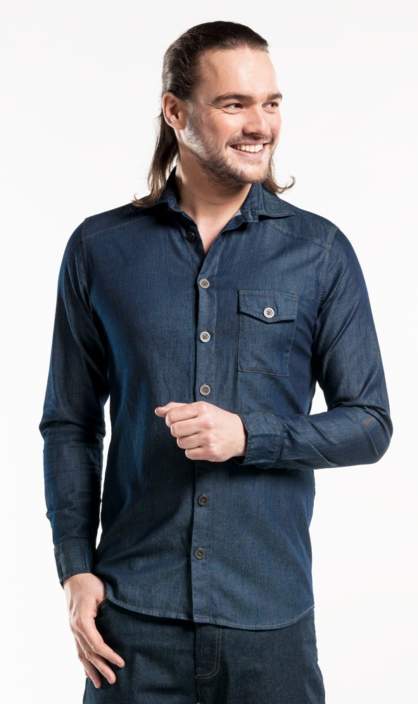 CHAUD DEVANT JEANS-HEMD MEN BLUE DENIM