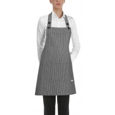 EGOCHEF Kurze Latzschürze NEW GREY STRIPE 2er-Pack